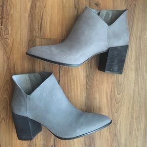 Vince Camuto Grey Block Heel Booties